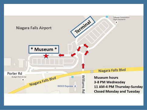 Map of Niagara Aerospace Museum driveway