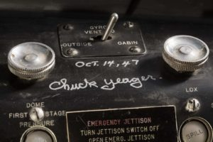 Chuck Yaeger signature in the X-1 cockpit