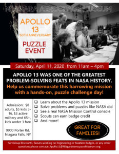 Apollo 13 50th Anniversary Puzzle Event @ Niagara Aerospace Museum