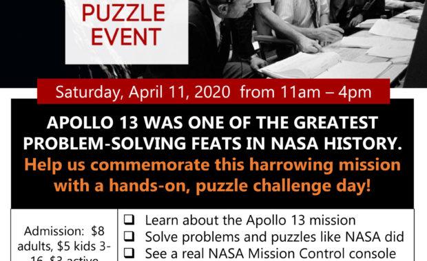 Apollo 13 50th Anniversary Puzzle Event at the Niagara Aerospace Museum Saturday, April 11, 2020 flyer