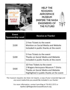 Call for Sponsors - Apollo 13 50th Anniversary Puzzle Event 2010 flyer