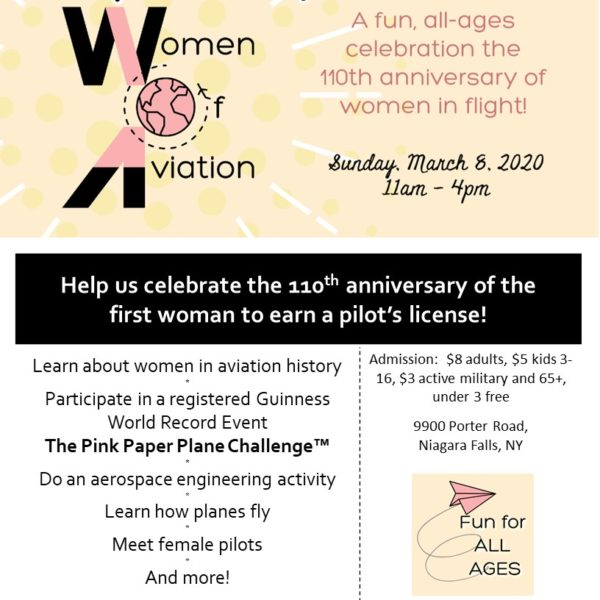 Women of Aviation at the Niagara Aerospace Museum Saturday, March 8, 2020 flyer